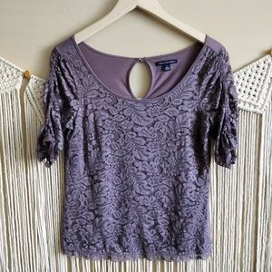 American Eagle Outfitters Purple Lace Blouse S